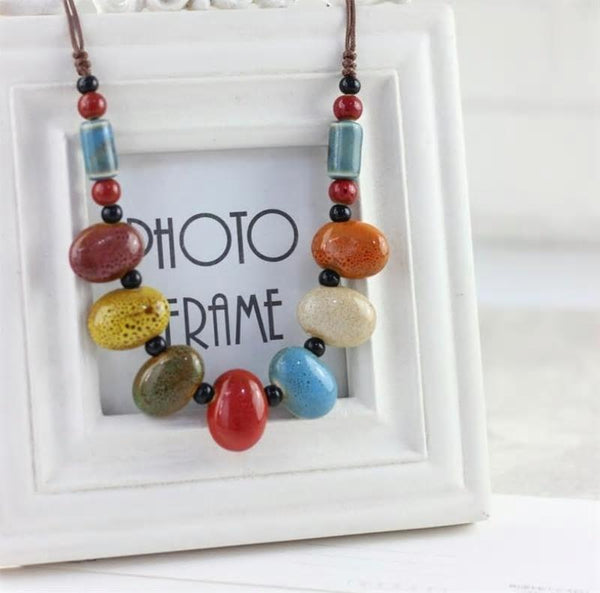 Ethnic Ceramic Colorful Necklaces with beads - [neshe.in]