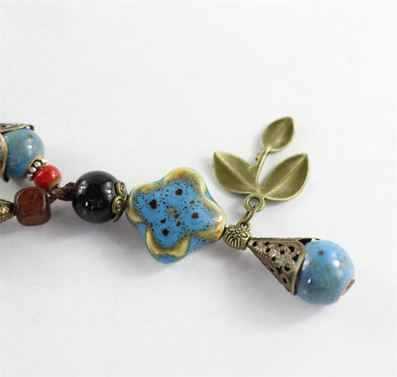 Handmade Rope Ceramic Flower Leaf Beads Pendant Necklace -2 Colors - [neshe.in]