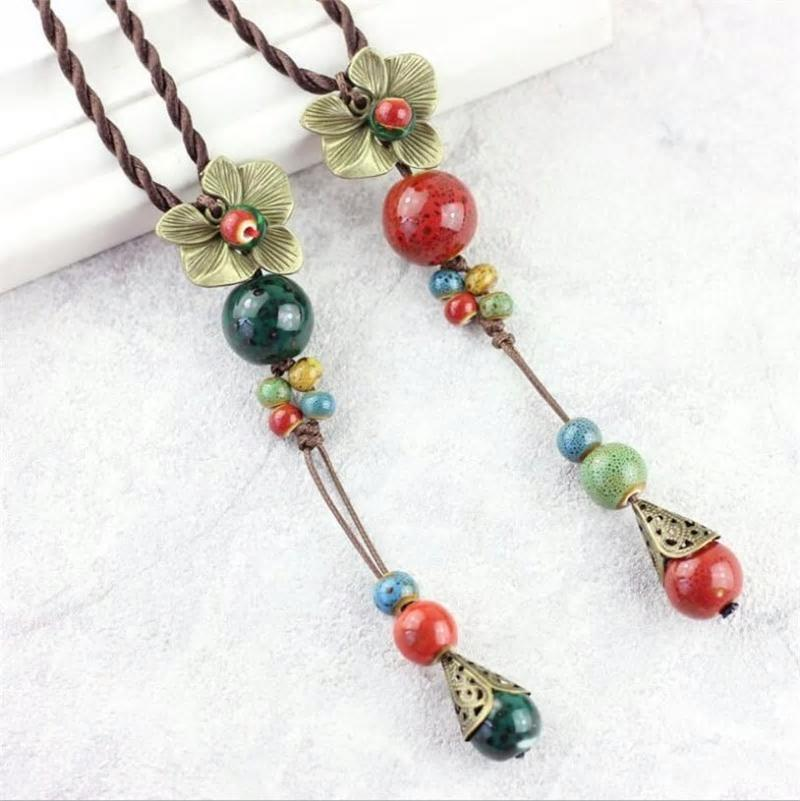 Ethnic Metal Flower Long Beaded  Rope Necklace -2 Colors - [neshe.in]