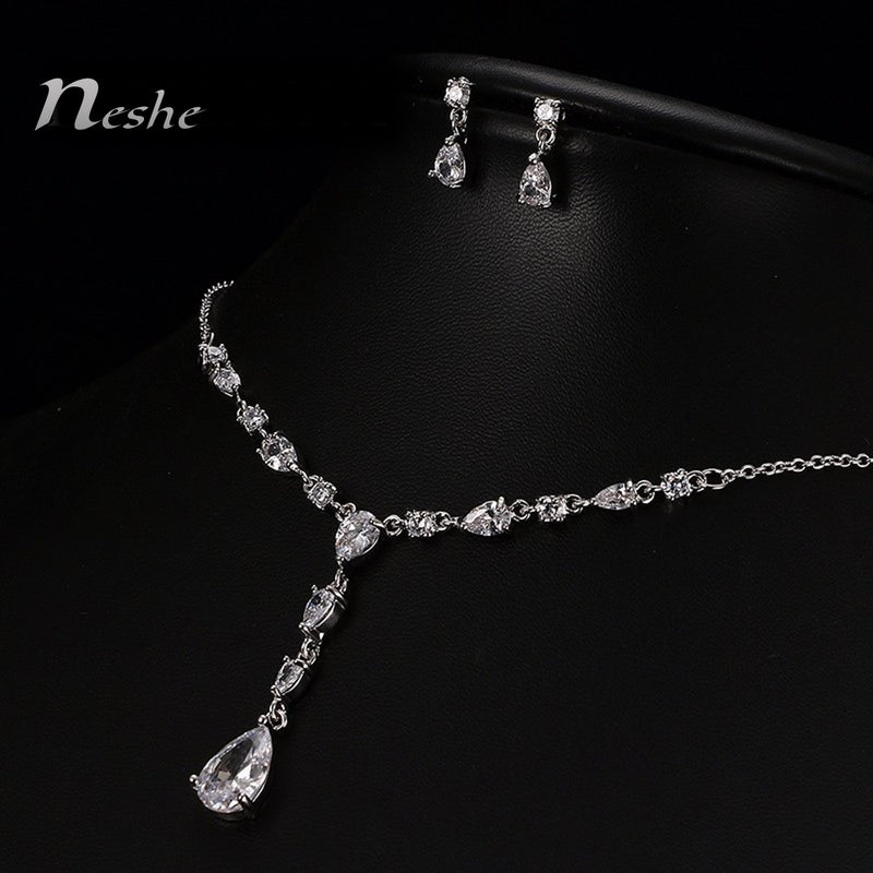 White CZ Crystal Water Drop Luxury Necklace Set - [neshe.in]