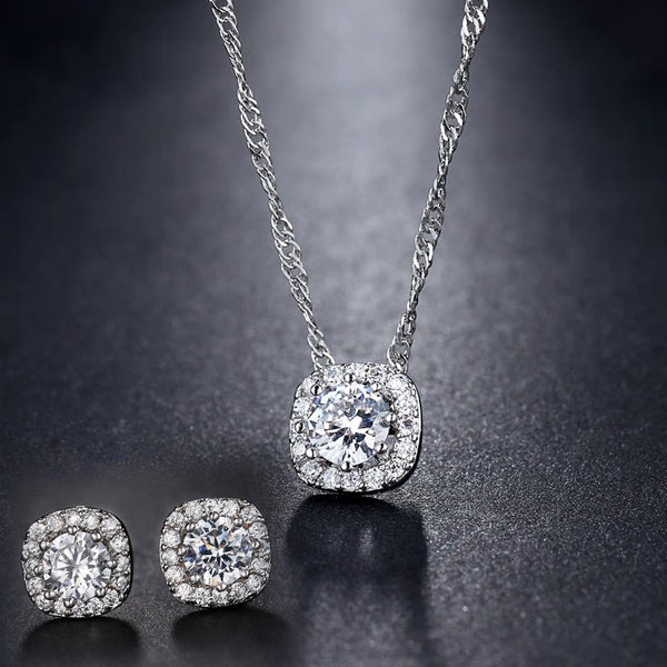 Platinum plated Square CZ Crystal Pendant Chain Necklace Set - [neshe.in]