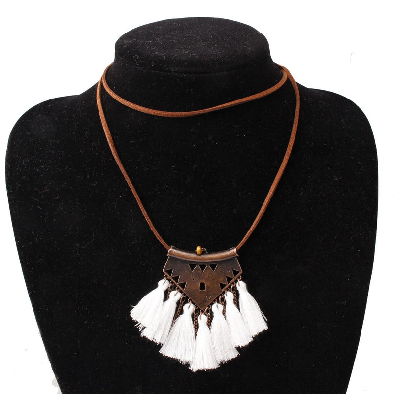 Vintage Gold Tassels  Leather Chain Pendant Necklace -3 Colors - [neshe.in]