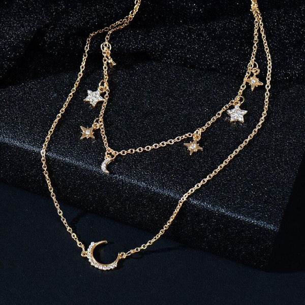 Boho Star Moon Sun Multi-layer Chain Necklace - 2 Colors - [neshe.in]