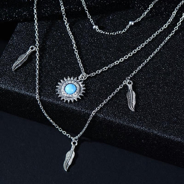 Boho Star Moon Sun Silver Multi-layer Chain Necklace - [neshe.in]