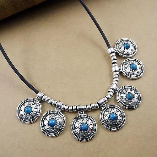 Round Vintage Tibetan Silver Leather Choker Statement Necklace - [neshe.in]
