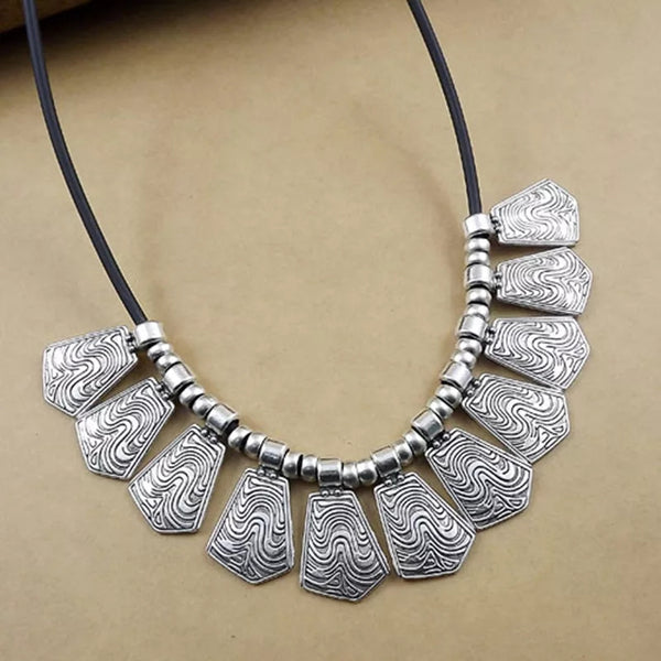 Gypsy Waves Vintage Silver Leather Choker Statement Necklace - [neshe.in]