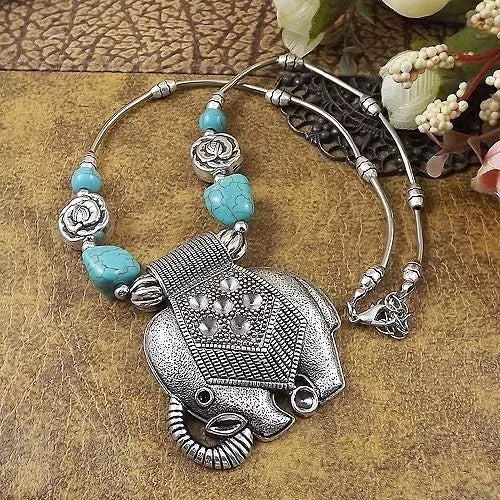 Bohemian Gypsy Silver Elephant Blue Stone Pendant Necklace - [neshe.in]