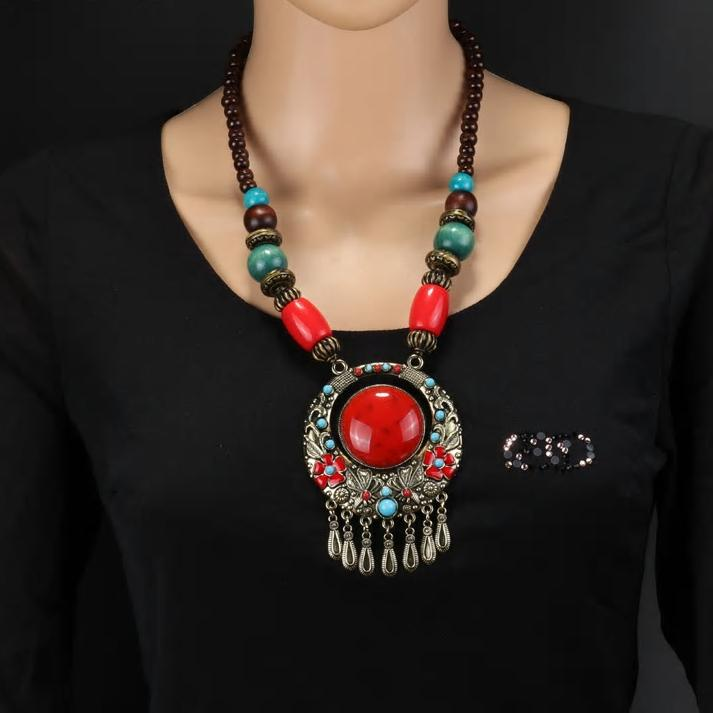 Ethnic Bohemia Red Pendant Statement Necklace - [neshe.in]