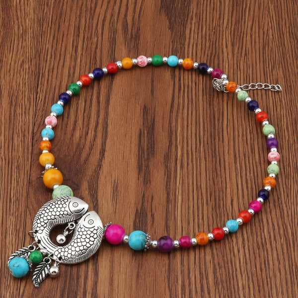 Bohemian Natural Stone Beads Fish Pendant Necklace - [neshe.in]