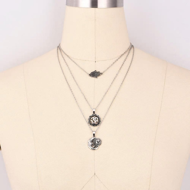 Vintage Turkish Silver Sun Moon Hamsa Hand Multilayer Necklace - [neshe.in]