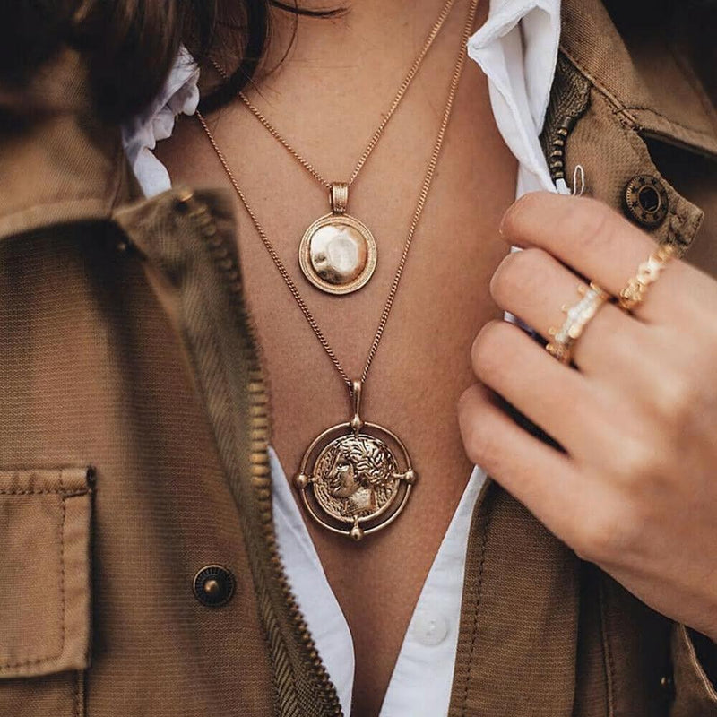 Golden Double Layer Face Coin Statement Necklace - [neshe.in]
