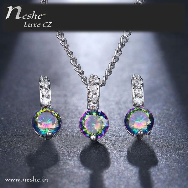 Delicate CZ Solitaire Jewelry Set - 2 Colors