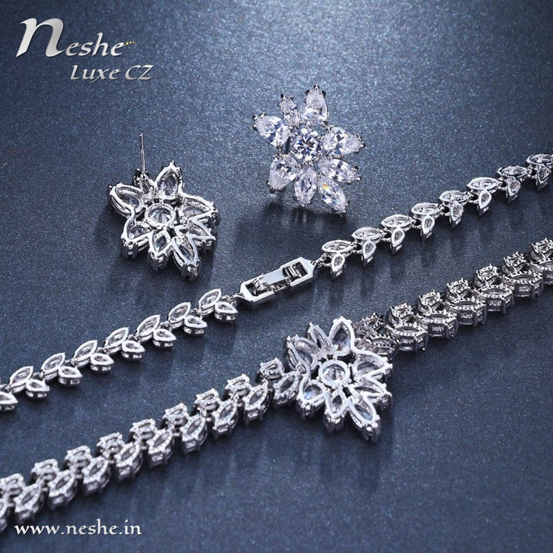 CZ Crystal Silver Necklace Stud Wedding Jewelry Set