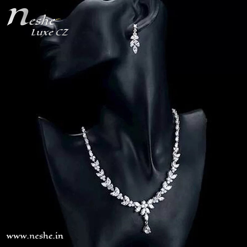 CZ Crystal Necklace Drop Earrings Wedding Jewelry Set - Gold & Silver