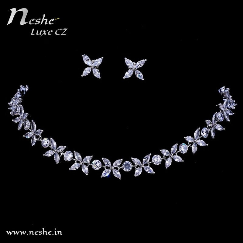 CZ Flowers Silver Choker Necklace Jewelry Set