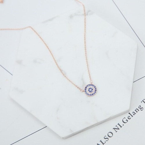 CZ  Blue Zircon Blue Evil Eye Pendant Necklace Short Clavicle Chain