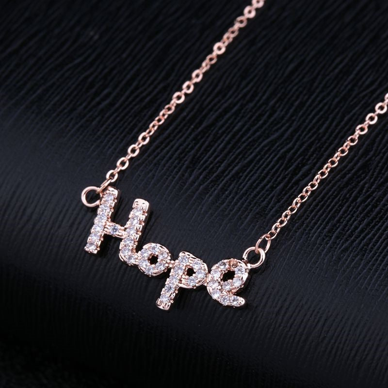 CZ  Hope Pendant Rose Gold