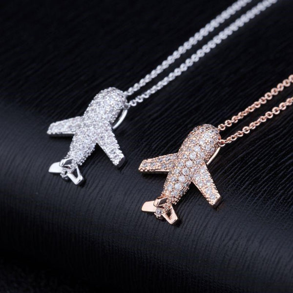 CZ Aircraft Airplane Crystal Pendant Necklace