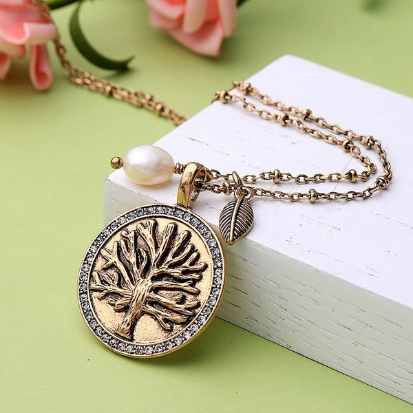 Antique Vintage Pearl Tree of life Pendant Necklace