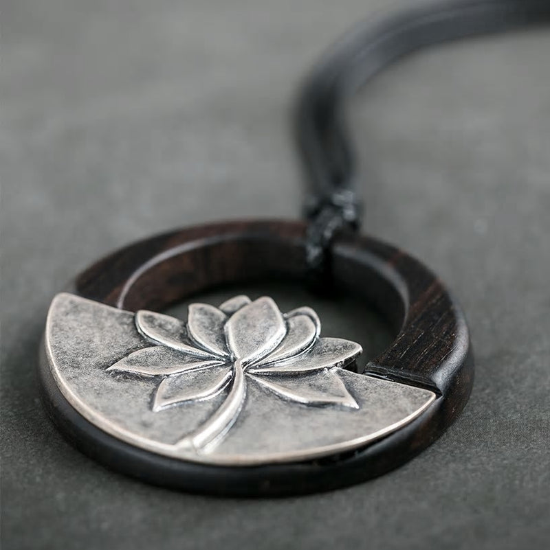 Handmade Wooden Lotus Pendant Black  Necklace