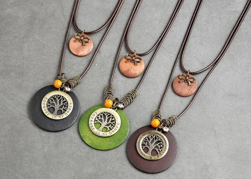 Tree of Life Forever in Heart Pendant Leather Necklace -2 Colors