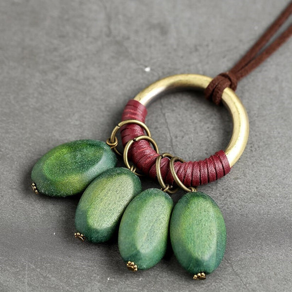 Green Wooden Pod Leather Necklace
