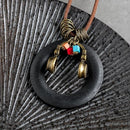 Music Headphones Wooden Pendant Leather Rope Necklace