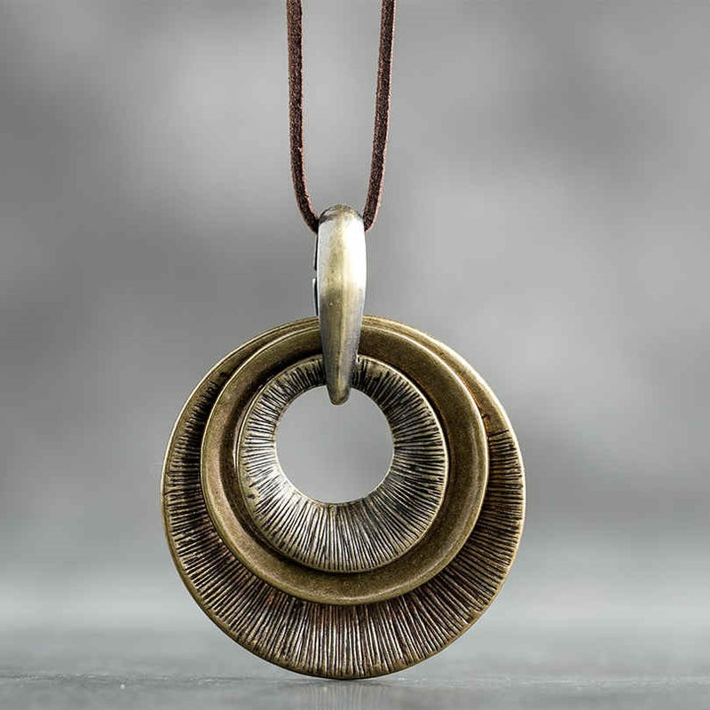 Vintage Concentric Metal Pendants Long Leather Rope Necklace