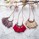 Vintage Leather Rope Boho Ethnic Tassel Pendant Necklace-3