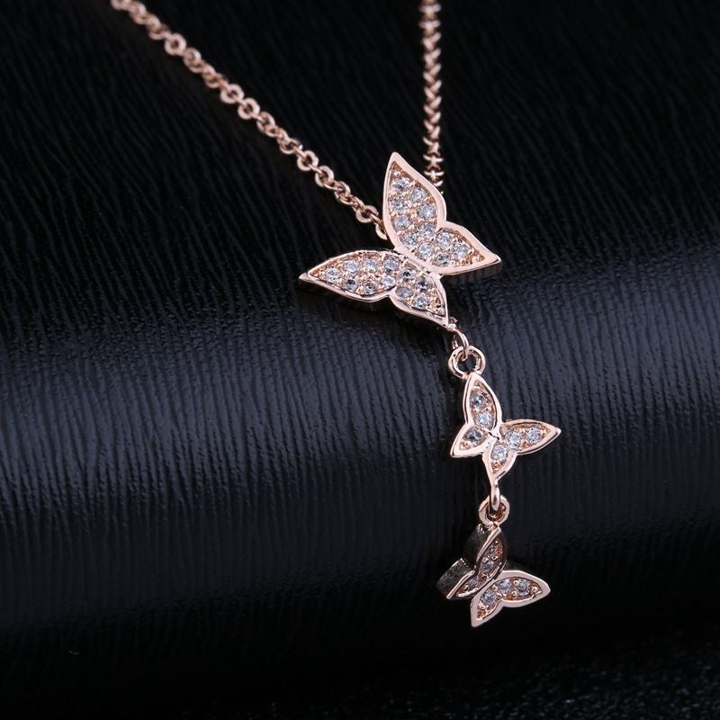 Elegant Paved CZ Crystal Butterfly Pendant Rose Gold Necklace