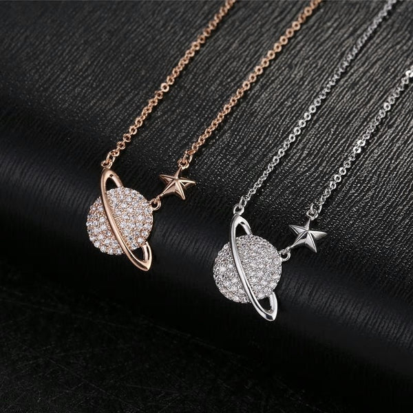 CZ Crystal Planet Star Pendant Necklace -2 Colors