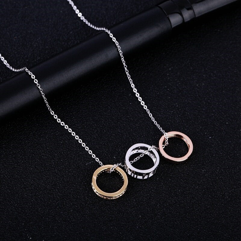 Roman Numerals Three Color Circles CZ Crystal Pendant Necklace
