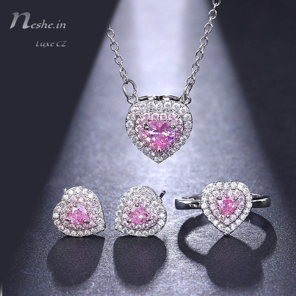 Heart Shape Pink CZ Crystal Necklace Earring & Adjustable Ring Set