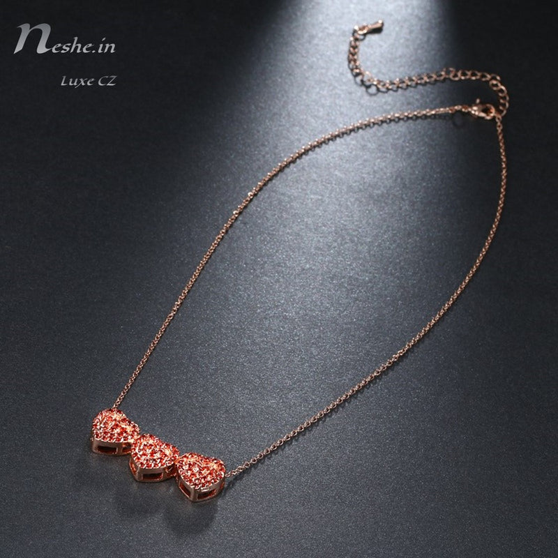 Red CZ Heart Shape Pave Crystals Rose Gold Chain Necklace