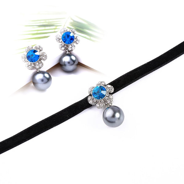 Luxury Blue Crystal Velvet Choker Necklace Earring Set