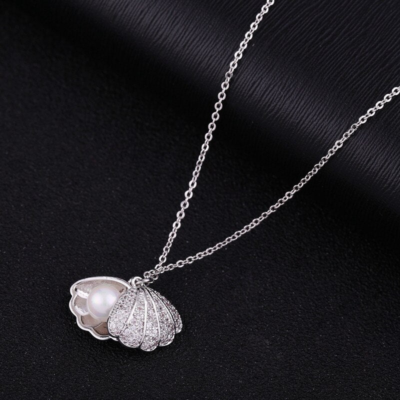 Shell Pendant Simulated Pearl CZ Crystal Chain Necklace -2 Variants