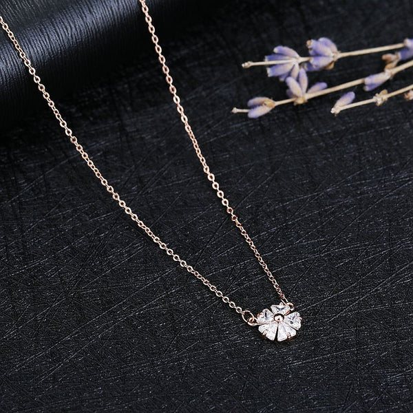 Delicate Rose Gold CZ Crystal Geometric Flower Pendant Chain Necklace