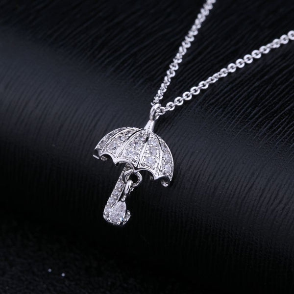 Cute Umbrella Pendant CZ Crystal Chain Necklace
