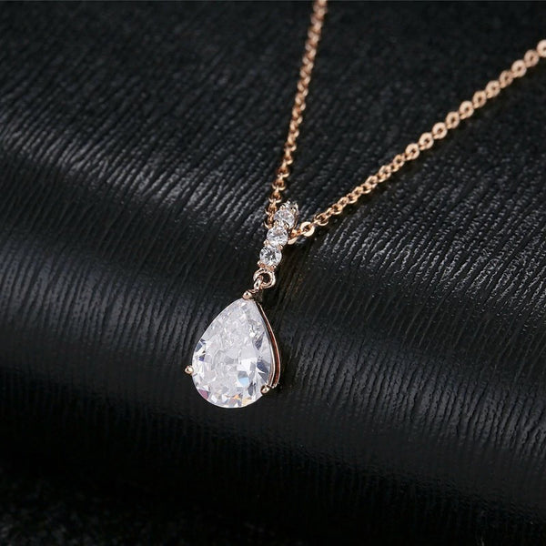 Elegant Water Drop CZ Crystal Pendant Rose Gold Chain Necklace