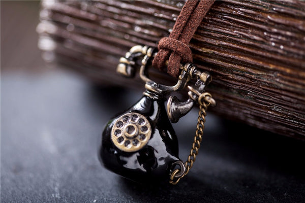 Vintage statement long rope Antique Telephone Pendant Necklace - [neshe.in]