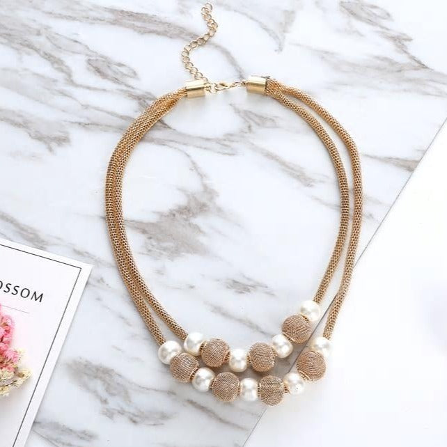 Golden Chain European Style Pearls Choker Necklace - [neshe.in]