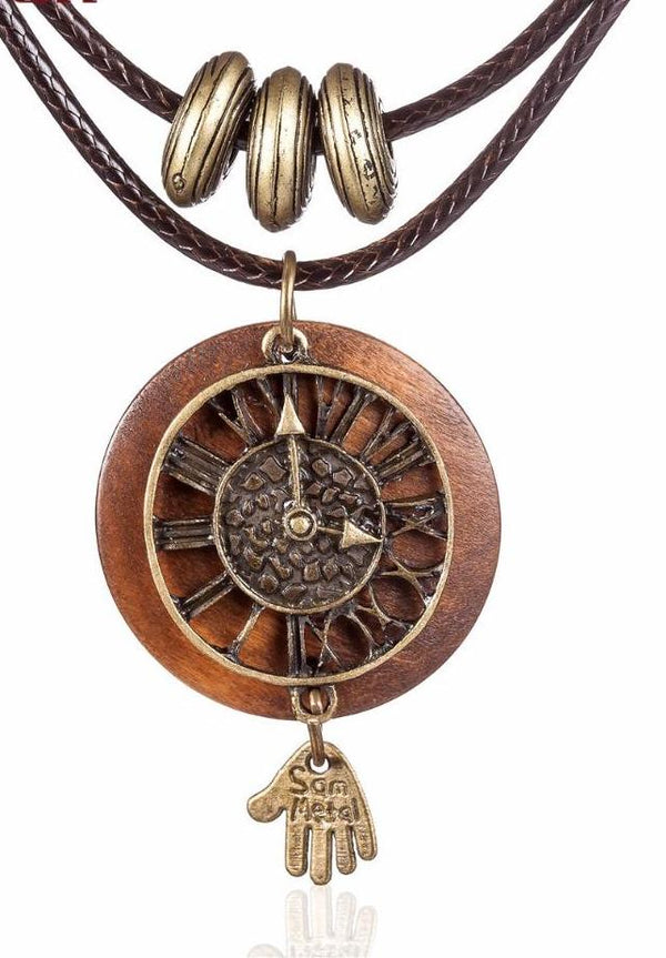 Wooden clock hand pendant Long necklace - NN - [neshe.in]