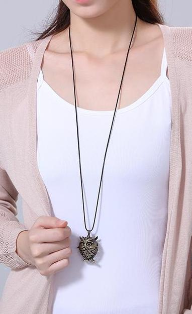 Vintage Owl Locket statement Long necklaces - NN - [neshe.in]