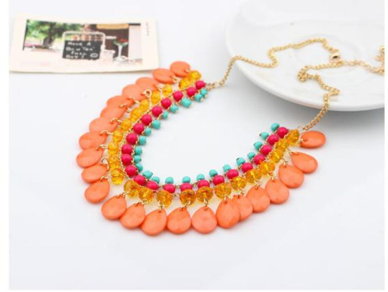 Bohemian Water Droplets Fluorescent Statement Necklace in 6 Colors - [neshe.in]