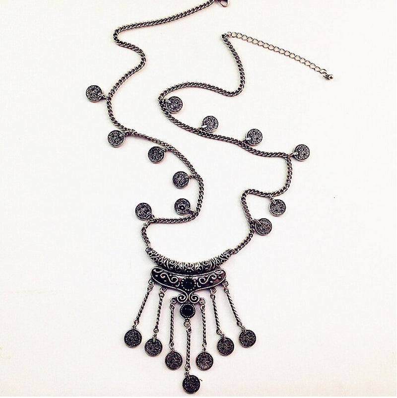 Bohemian Vintage Silver Coin Stone Tassel Long Necklace - [neshe.in]