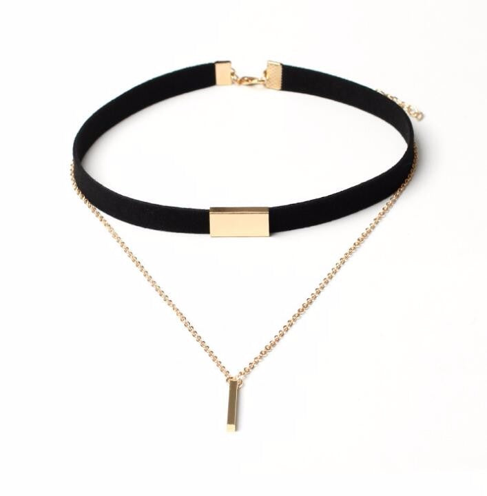 Black and Brown Velvet Choker Necklace with Gold Chain - [neshe.in]