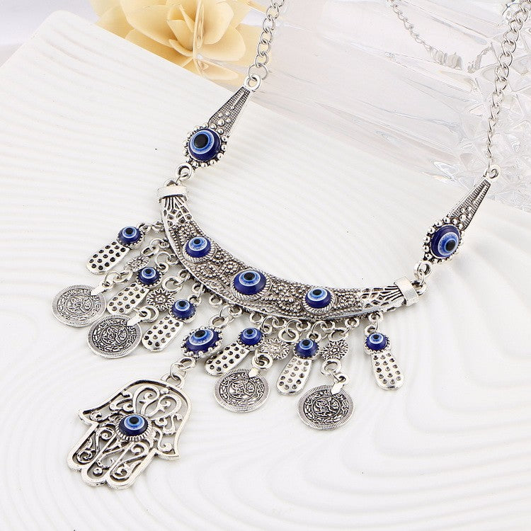 Bohemian Long Retro Silver Talisman Eye Coins Statement Necklace - [neshe.in]