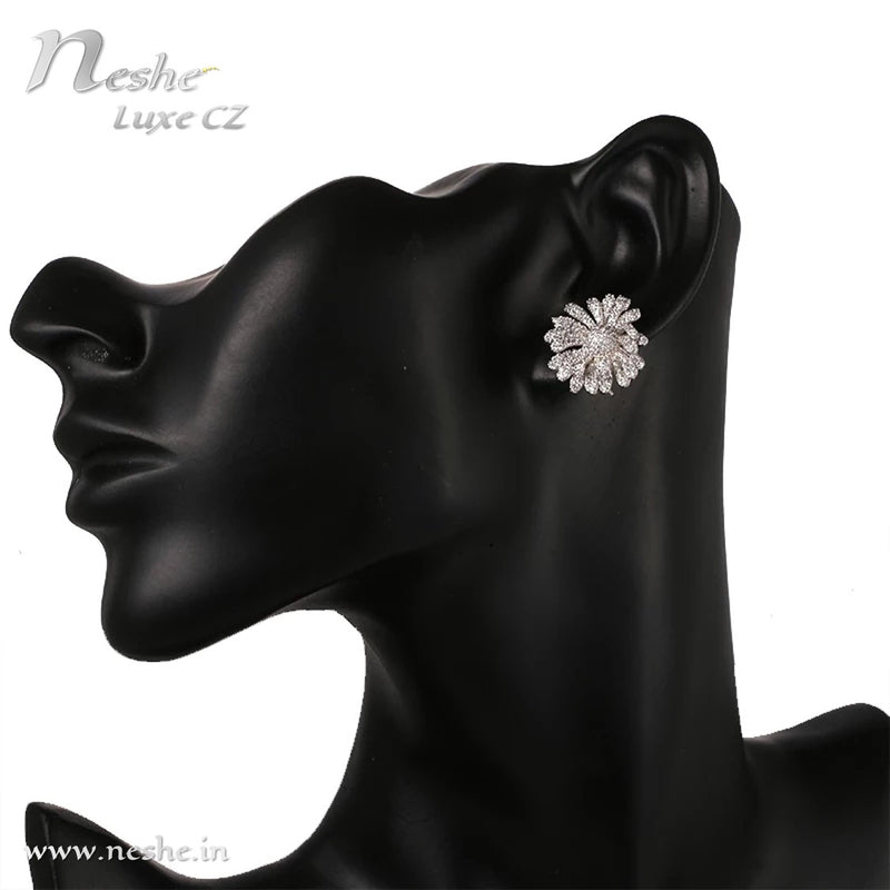 CZ Crystal Silver Flower Statement Party Stud Earring - [neshe.in]