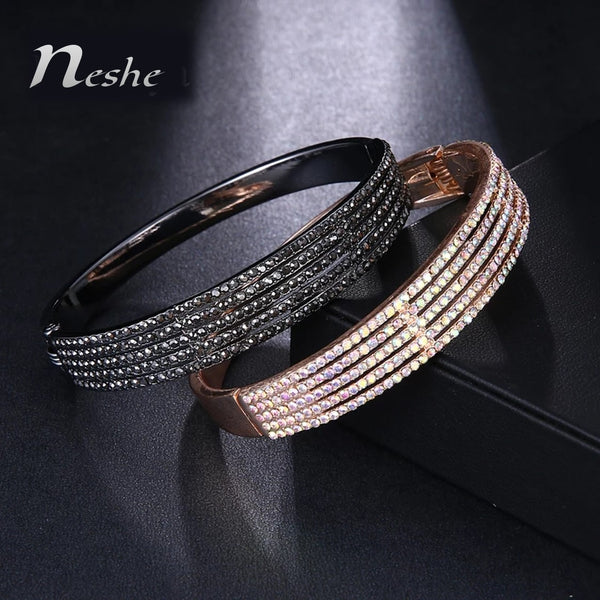 CZ Crystal Stones Bangle Bracelet - 2 Colors - [neshe.in]
