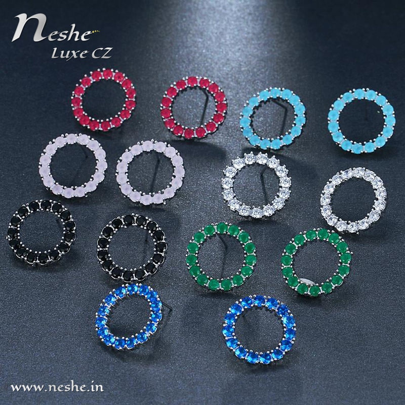 CZ Crystal Round Styled Stud Earring - 5 Colors - [neshe.in]